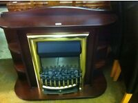 Mahogany fireplace with inset elec fire