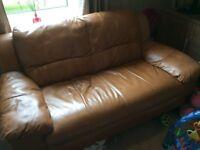 Tan leather 2 seat sofa