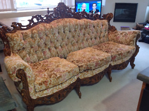 Ornate Antique French Couch and Two Chairs