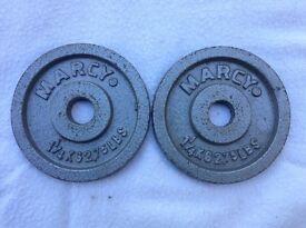 2 x 1.25kg Marcy Standard Cast Iron Weights