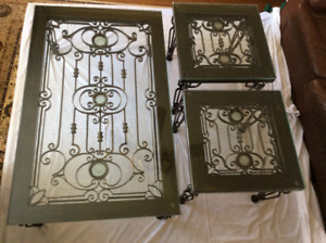 Wrought Iron and Glass  Coffee Table Set
