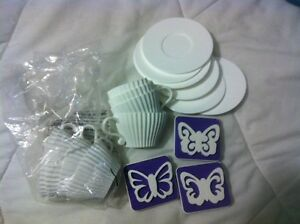 Teacup and saucer cupcake set plus stamps Windsor Region Ontario image 1