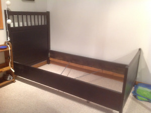 IKEA Hemnes bed frame with box spring and mattress
