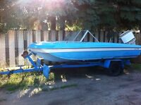 1979 Chrysler corp 17' tri-hull boat, motor and trailer