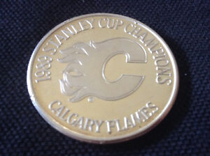 1989 STANLEY CUP CHAMPS CALGARY FLAMES 1 oz SILVER COIN