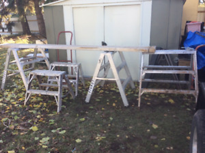 Sawhorses and Scaffold Plank