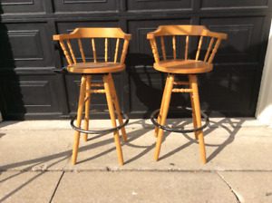 Oak bar stools.      *** SOLD ***