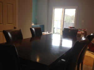 Seven piece dining table brown