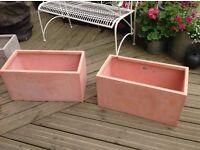 Two fibrecotta terracotta trough planters