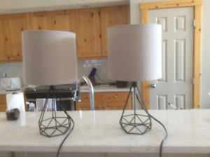 2 matching modern nightstand/table lamps