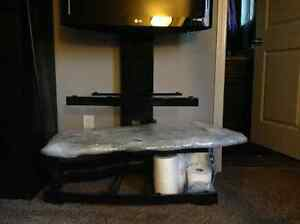 swivel TV Stand with 3 Glass shelves