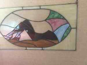 Stained glass beach scene