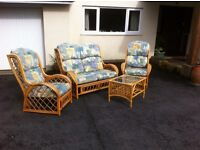 3 piece cane conservatory suite + glass top table.