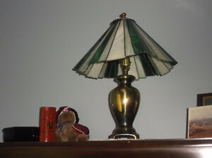 2 Lamps c/w Stained glass shades
