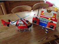 Rescue Helicopter & Firestation,plus Fireman Sam figures.