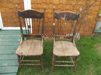 Antique two solid wood chairs