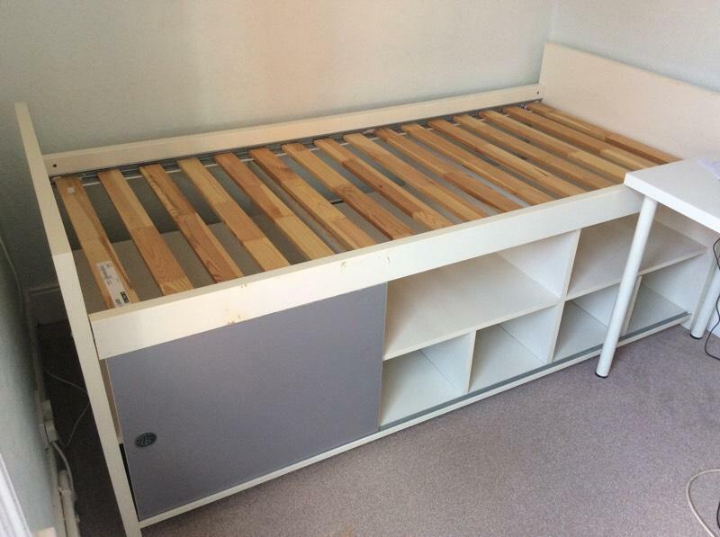IKEA CABIN BED-SLIDING DOORS & INNER SHELVES WOOD SLAT ...