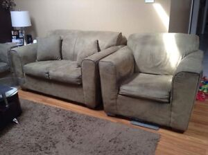 Couch Set on Sale: Suede Sofa, Love Seat, Chair