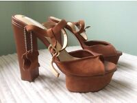 Brown 100% leather sandals size 6