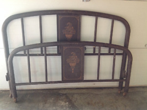 Antique metal headboard and footboard