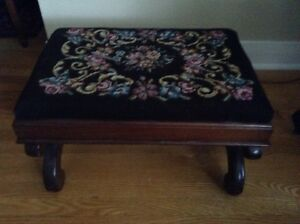 Antique Needlepoint Footstool
