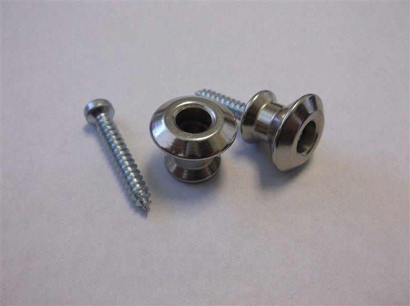 New - Buttons (2) For Dunlop Dual Design Strap Locks - Nickel, Sls2011n