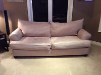 LIGHT TAN 3 SEAT COUCH & LOVE SEAT - non smoking