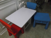 Table & IKEA Chairs and Nightstand Combo
