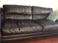 Quality Three Seater Leather Sofa | Black | Nice