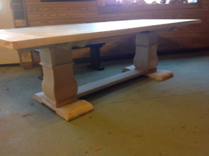 Wormy Maple Trestle Table on Sale from Our Showroom