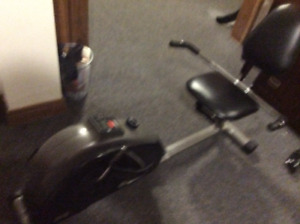 Recumbent exercise bike.
