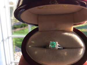 Stunning 1.34 Emerald and Diamond Ring (14KT White Gold)