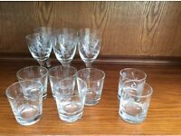 Cut glass wine and whisky glasses pre 1960
