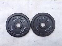 2 x 3lb (1.3kg) Weider Standard Cast Iron Weights
