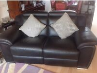 Beautiful Brand New Black Leather Recliner Suite / Reclining Sofas and Armchair from Harvey