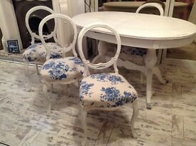 Shabby chic vintage table and 4 chairs