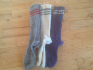 hand knitted items made with Briggs & Little wool