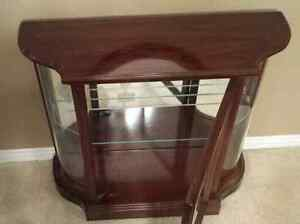 Cherry Wood Curio Display CABINET with MIRROR