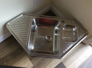 NEW Blanco stainless steel corner kitchen / bar sink