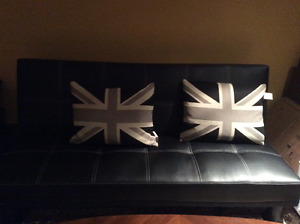 Beautiful black leather queen fold down couch