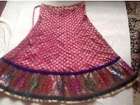 Hindo saree skirt heavy material pink new £5