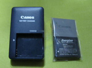 Canon CB-2LV Camera Battery Charger & 2 Batteries