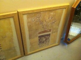 £10 no offers pair of large flower pictures in frames beige
