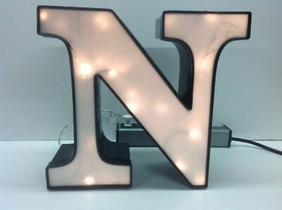 Letter N Commercial Sign Lighted Aluminum Body Plastic Face Used O4