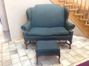 Rare Antique Settee and Wingback Chairs