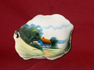 OLD HAND PAINTED DISHES  (14 PIECES )