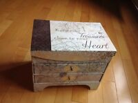 Brand new Jewelry box - 2 drawers, 3 top compartments, mirror