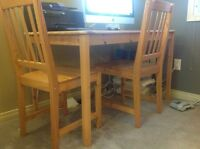 IKEA pine table and 2 chairs