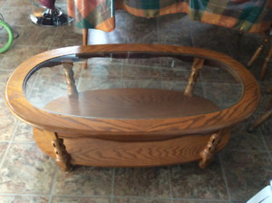 Oak and Glass Coffee Table w/wheels