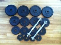 **LIKE NEW** 37kg CAST IRON WEIGHT PLATES AND A PAIR OF DUMBBELLS